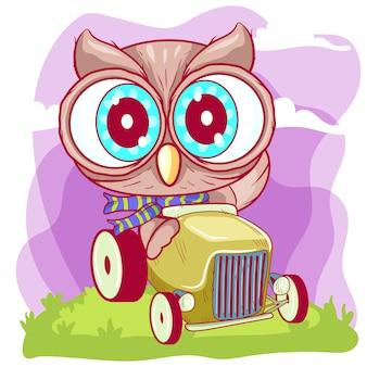 Simpatico gufo cartoon va su una macchina