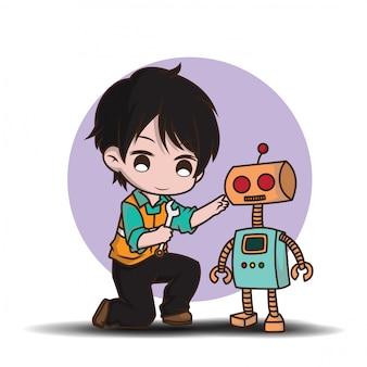 Simpatico ingegnere in stile personaggio dei cartoni animati.