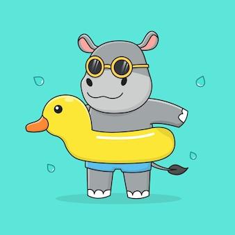 Simpatico ippopotamo con anatra di gomma e occhiali da sole