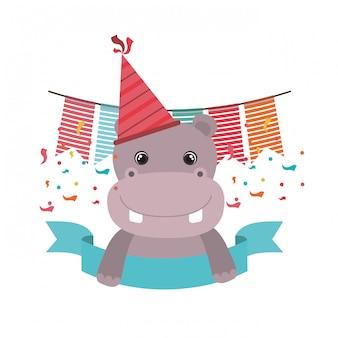 Simpatico ippopotamo con cappello da festa