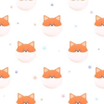 Simpatico kawaii shiba, fox. modello animale senza soluzione di continuità.
