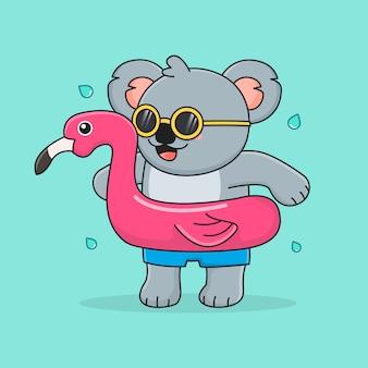 Simpatico koala con fenicottero ad anello da nuoto e occhiali da sole