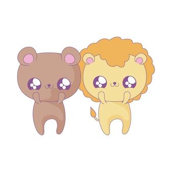 Simpatico leone con orso cuccioli di animali in stile kawaii