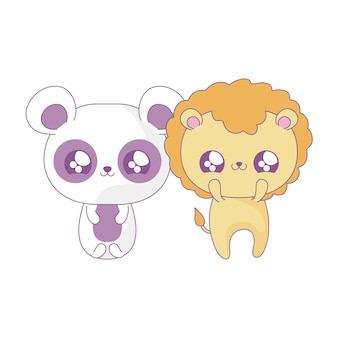 Simpatico leone con panda bear baby animali stile kawaii