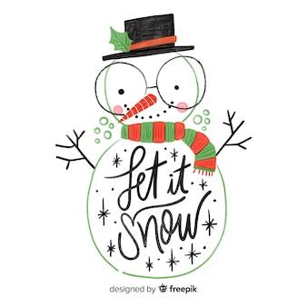 Simpatico lettering pupazzo di neve disegnato a mano