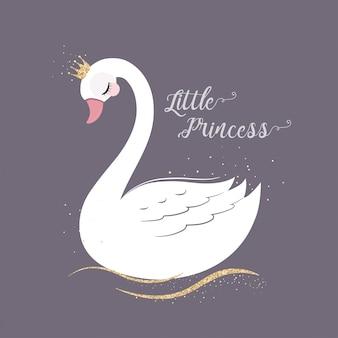 Simpatico little princess swan con corona glitter oro.