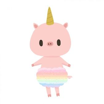 Simpatico maiale rosa con costume da unicorno.