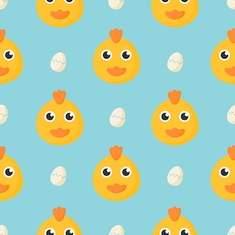 Simpatico modello senza saldatura con pollo baby cartoon e uovo per bambini. animale su sfondo blu.