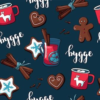 Simpatico motivo hygge per tessuto e carta con elementi natalizi e oggetti accoglienti