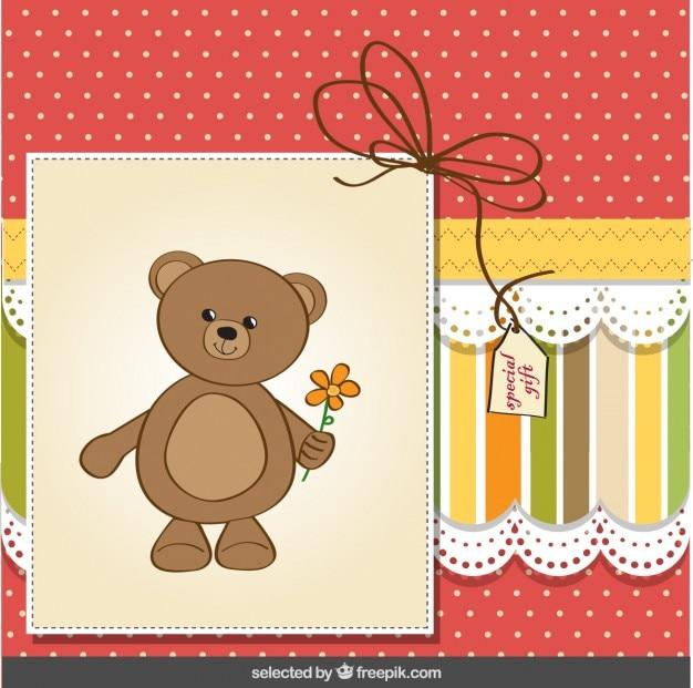 Simpatico orsacchiotto biglietto di auguri