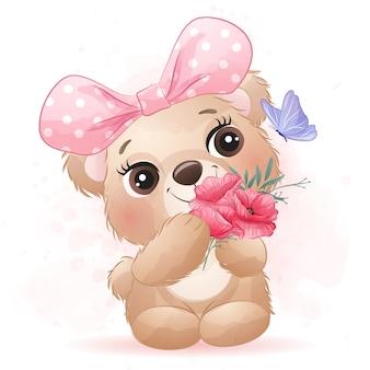 Simpatico orsetto con effetto acquerello