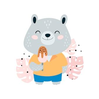 Simpatico orsetto con gelato nella giungla