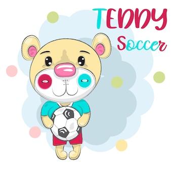 Simpatico orsetto con un pallone da calcio