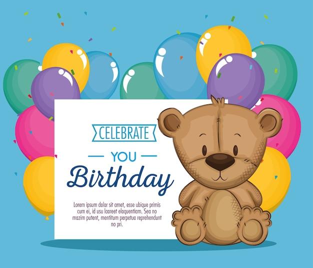 Simpatico orsetto di compleanno con orsacchiotto