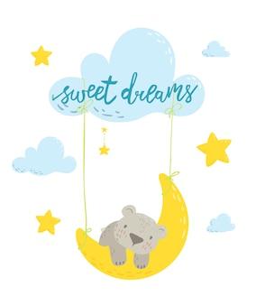 Simpatico orso che nuota sull'altalena lunare