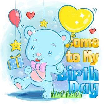 Simpatico orso che si sente felice nella festa di compleanno