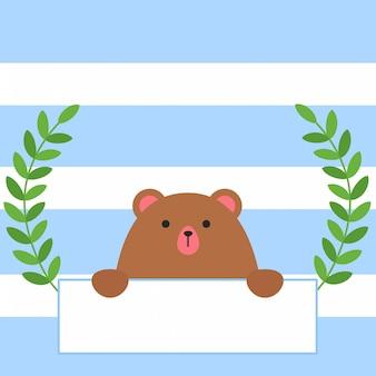 Simpatico orso con cartello in stile piatto alla moda. buon san valentino