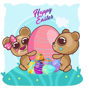 Simpatico orso con felice easter egg. copia vettoriale