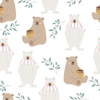 Simpatico orso con foglia