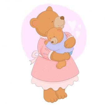 Simpatico orso con il suo bambino, carta festa della mamma