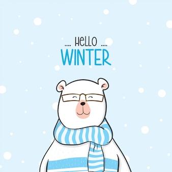 Simpatico orso con maglione nella neve per la stagione invernale