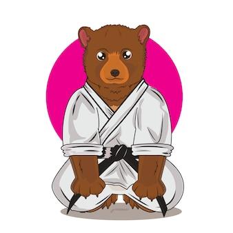 Simpatico orso con tema di karate