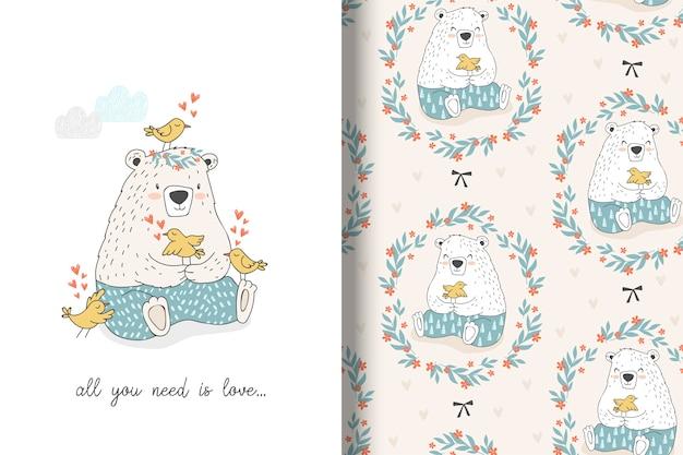 Simpatico orso con uccelli e senza cuciture