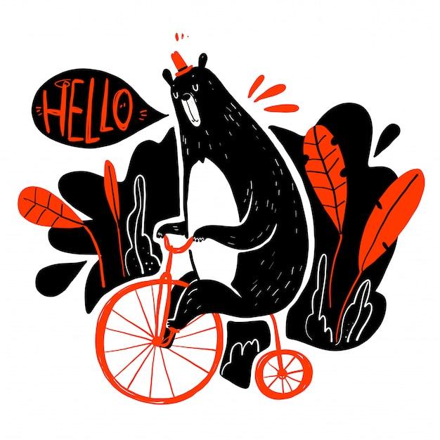 Simpatico orso in sella a una bicicletta, collezione disegnata a mano.