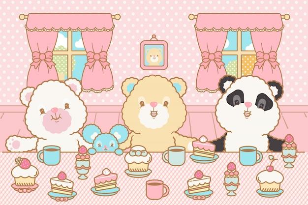 Simpatico orso kawaii, topo che beve cacao e mangia la torta