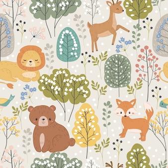 Simpatico orso, leone, renna e volpe nel modello senza cuciture della foresta capricciosa