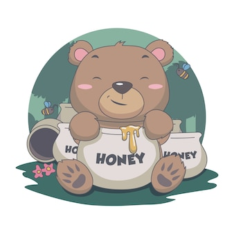 Simpatico orso mangia dolce miele, con ape, fiore, foresta