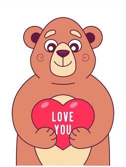 Simpatico orso mantiene il cuore nelle zampe. personaggio