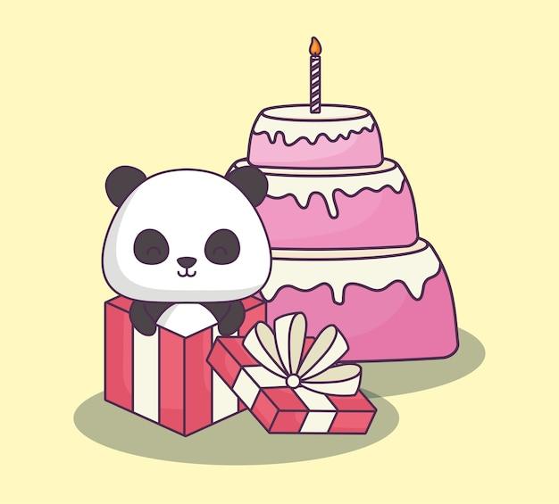 Simpatico orso panda che celebra il personaggio kawaii