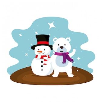 Simpatico orso polare con personaggi di pupazzi di neve