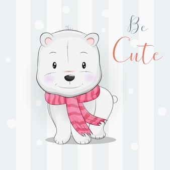 Simpatico orso polare con sciarpa che cammina nella neve
