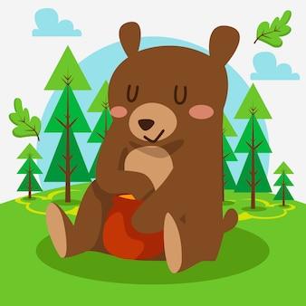 Simpatico orso seduto nella foresta