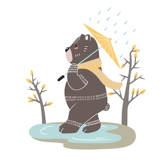Simpatico orso su uno sfondo di alberi. illustrazione disegnata a mano in stile scandinavo