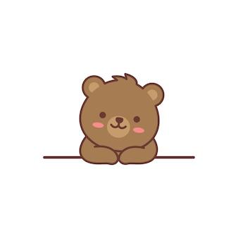Simpatico orso sul cartone animato a parete