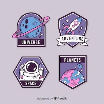Simpatico pacchetto di adesivi illustrati nello spazio