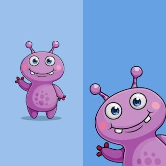 Simpatico personaggio alieno mostro agitando, con diversa posizione dell'angolo di visualizzazione, disegnato a mano