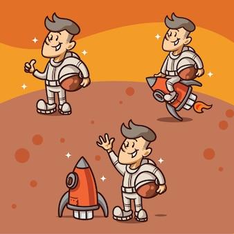Simpatico personaggio astronot retrò illsutration
