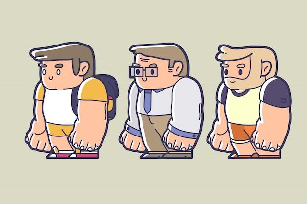 Simpatico personaggio dei cartoni animati bambino, uomo e uomo anziano in abbigliamento diverso abbigliamento