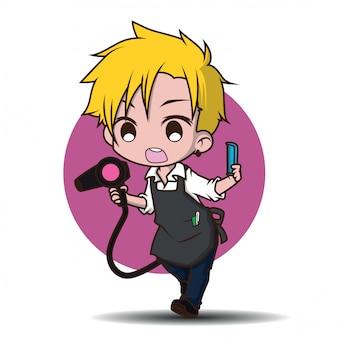 Simpatico personaggio dei cartoni animati barbiere.