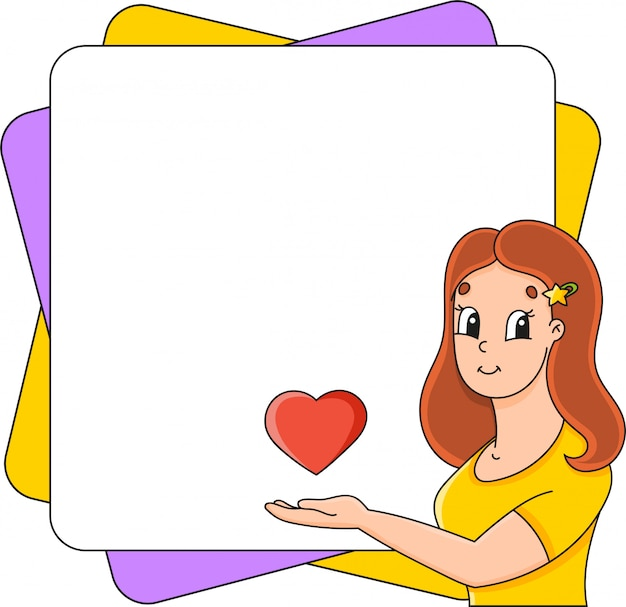 Simpatico personaggio dei cartoni animati con posto per il testo. disegnato a mano.