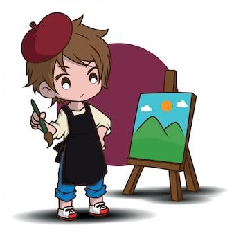 Simpatico personaggio dei cartoni animati dell'artista. concetto di lavoro