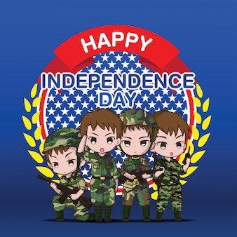 Simpatico personaggio dei cartoni animati dell'esercito, felice giorno dell'indipendenza.