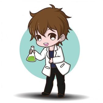 Simpatico personaggio dei cartoni animati dello scienziato., concetto di lavoro.