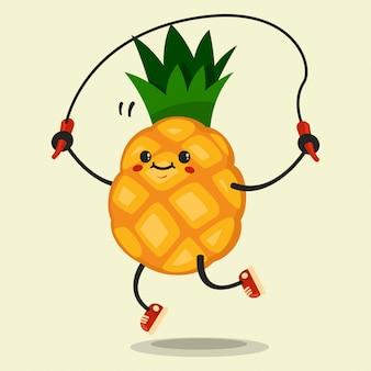 Simpatico personaggio dei cartoni animati di ananas rende gli esercizi di salto con la corda. mangiare sano e in forma. illustrazione isolata.