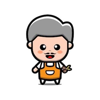 Simpatico personaggio dei cartoni animati di barbiere uomo