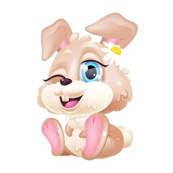 Simpatico personaggio dei cartoni animati di kawaii coniglio. buona pasqua. autoadesivo adorabile e divertente che si siede e che sbatte le palpebre isolato, toppa. coniglietto della neonata di anime con l'emoji del fiore su fondo bianco